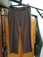 BHS Petites Smart Chocolate Brown Flecked Trousers, Size 12, VGC