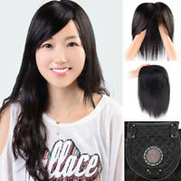 Silk Straight 100% Remy Human Hair Topper Toupee Hairpiece Top Piece with Bangs