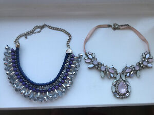 Statement Necklace x2 beaded pastel Multicolour And Blue