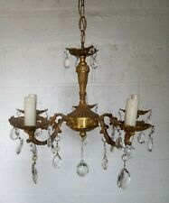 """Antique 4 arms French Brass Lead Crystal Chandelier 30"""""""