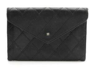 Beautiful Designer CHANEL Black Quilted Leather Flap Envelope Wallet FRANCE