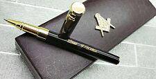 Personalised FREEMASON MASONIC Pen Luxury 24k Gold Clad Gift Set Engraved Gifts