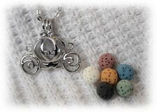 Small Princess Carriage Essential Oil Aromatherapy Necklace with 6 lava stones!