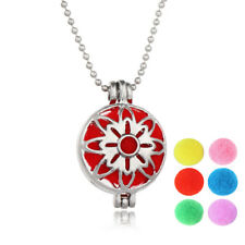 Aromatherapy Essential Oil Diffuser Necklace Pendant Double Side Sun Flower