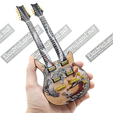 Mini Guitar Carlos Santana double neck Dragon model scale 1:4 miniature gadget