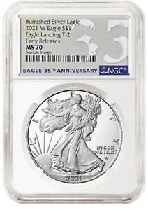 2021 W NGC MS 70 Burnished Silver Eagle Type 2 Reverse 35 Anniversary Label