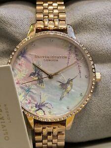 NEW OLIVIA BURTON Hummingbird Ladies Rose Gold Bracelet Watch OB16PP60 BNWT