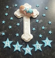 PERSONALISED EDIBLE BABY BOY LARGE CROSS CHRISTENING CAKE TOPPER DECORATION