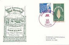 National Auswanderer-Haus Stadt Warschau mit US Marken 16.06.1981 Ganzsache -K9d