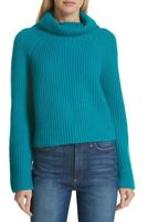 Lewit Ribbed Cashmere Turtleneck Teal Sweater  Size Medium 85512