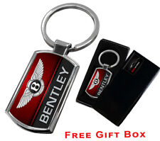 BENTLEY KEYRING KEY CHAIN RING FOB CHROME METAL NEW GIFT