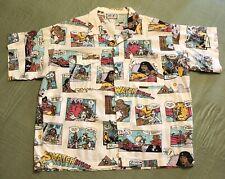 Vintage 80'S Swatch Watch Egyptian Cartoon Shirt Big Size Short Sleeve Button Up