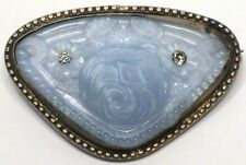 Antique Victorian Jeweled Periwinkle Molded Pressed Glass Rose Brooch Pin