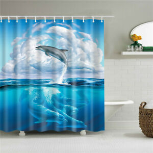 Dolphin Ocean Sea Wild Animal Modern Bathroom Waterproof Bath Shower Curtain