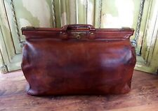 Vintage Gladstone Leather case bag Circa 1920s. Very Large Rare. Double Handle.