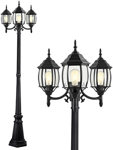 Garden Driveway Waterproof Hexagon Black Street Light Pole with Clear Glass Shade for Yard Path PARTPHONER Outdoor Lamp Post Light 3-Head Patio