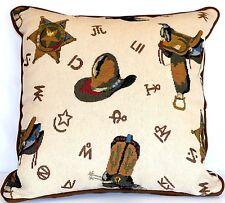 western cowboy decorative throw pillow kids tapestry den country brown children