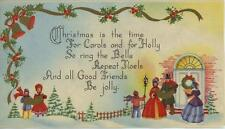 VINTAGE CHRISTMAS VICTORIAN DRESS BELL HOLLY BERRIES LAMP CAROLERS GREETING CARD