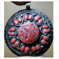 Antique old rare snake & Deer intaglio stone lovely old Pendant     # 34