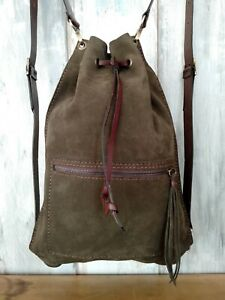 Green Leather Backpack Nubuck Leather Bag Handmade Backpack Hippie Backpack