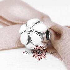 Pandora S925 Daisy Silver Fixed White Flower Clip Bracelet Charm NEW, 791259EN12