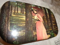 ANTIQUE VICTORIAN LADY WOODS PINK DRESS PAROSAL CELLULOID JEWELRY DRESSER BOX