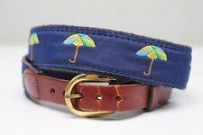 VTG Leather Man Surcingle Belt Blue Green Umbrella Motif Brass Buckle 28 Small