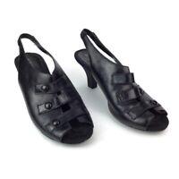 Aerosoles Womens 9.5 Satisfaxtion Leather Black Slingback Shoes Pump Sandal Heel