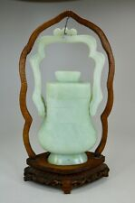 Antique Chinese Light Green Serpentine Ceremonial Vase w Lid and Wood Stand