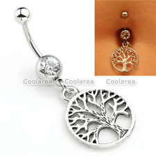 1x Steel 14G Clear CZ Crystal Tree of Life Belly Navel Button Ring Body Piercing