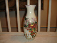 Vintage Chinese Asian Vase Floral Design Gold Accents Marked Bottom