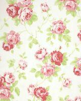 Tanya Whelan Cottage Shabby Chic Cotton Fabric Lulu Roses Lulu PWTW092-White BTY