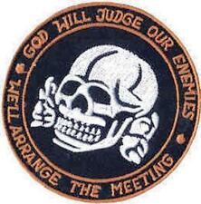 Iron On/ Sew On Embroidered Patch Badge Judge Our Enemies Skull Roundal