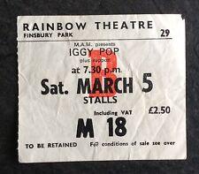 Iggy Pop Rainbow Theatre London 1977 Mega Rare ORIGINAL Ticket Punk The Stooges