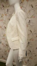 BNWT Ladies Zara White Lace Fitted Jacket with Stand Up Collar (Size L)