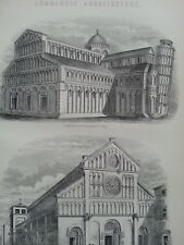 ANTIQUE PRINT DATED C1870'S LOMBARDIC ARCHITECTURE ENGRAVING CATHEDRAL AT PISA