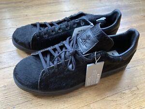 Adidas Size 12 OC Stan Smith black ponyhair men's sneakers collectors shoes NOS