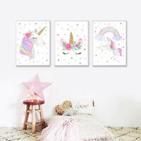 Watercolor Rainbow Unicorn Canvas Poster Nursery Wall Art Print for Kids Room