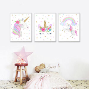 Watercolor Rainbow Unicorn Canvas Poster Nursery Wall Art Print for Kids Room