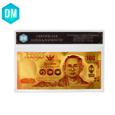 Business Souvenir Gifts 100 Baht 999 Gold Foil Bill Note with Plastic Case