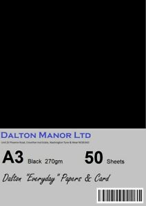 DALTON MANOR A3 BLACK CARD 270gm RECYCLED DOUBLE SIDED CHOICE OF PACK SIZES