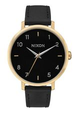 NIXON  - Ladies Arrow Gold Tone Black Leather Watch - A1091 913