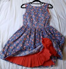 JOHNNIE B GIRLS PRETTY BLUE FLORAL DRESS 11-12 YEARS Vintage Style Retro Lined