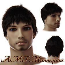 Dark male wig, fullsize adjustable cosplay Holloween synthetic Men wig-12-DB