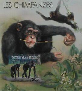 Chimpanzees monkeys fauna Burundi s/s Sc.1219 MNH #BUR12611b IMPERF