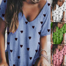 Women Summer Short Sleeve V Neck T Shirt Heart Print Blouse Casual Loose Top Tee