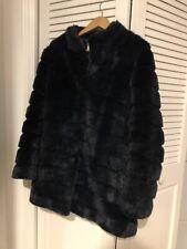 Laundry Faux Fur Navy Coat