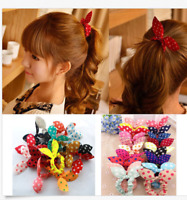 10Pcs Women Girl Rabbit Ear Scrunchie Hair Band Rope Elastic Tie Ponytail Holder