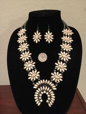 Estate find Genuine Pewter Squash Blossom Necklace SET (Necklace & Earrings)
