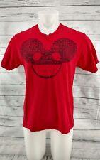 Deadmau5 Head Men's  Red T-shirt 100% Cotton Short Sleeve Size Medium
